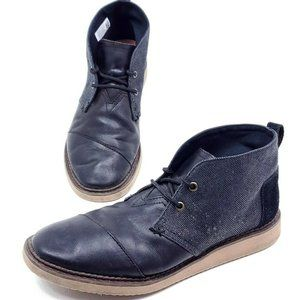 Toms Mateo Chukka Mens Size 9 Black Leather Shoes